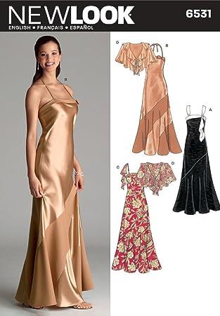New Look Nähmuster 6531 für festliche Kleider, Gr. A (6810121416 ...