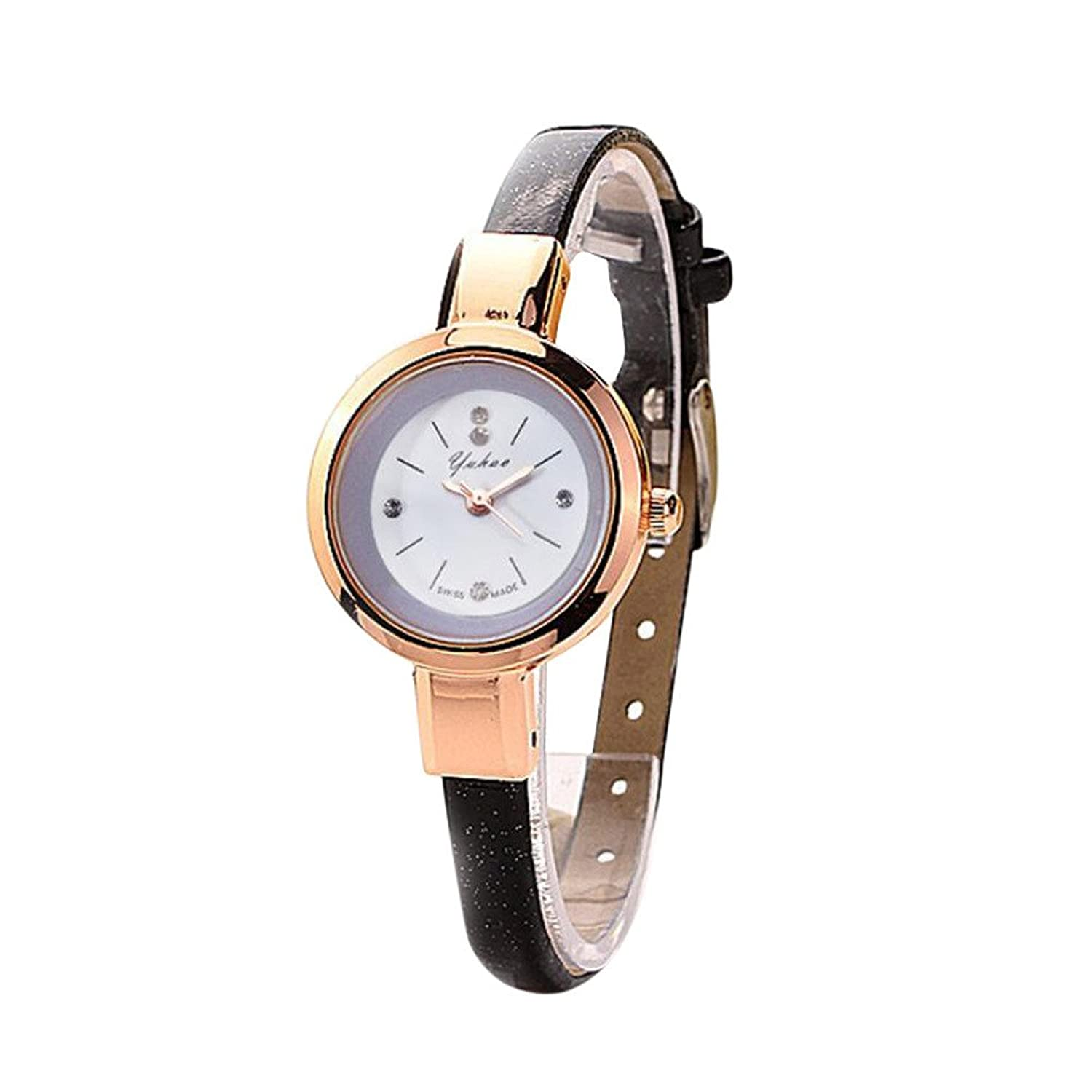 Amazon.com: Dressin Womens Quartz Watch,Fashion Leather Band Analog Bracelet Wrist Watch,Ladies Dress Watch,Geneva Watch (Black): Clothing
