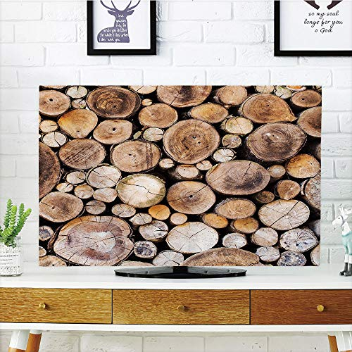 Glow Oak Log - iPrint LCD TV Cover Lovely,Rustic,Wooden Logs Background Circular Shaped Oak Tree Life and Growth Theme Decorative,Light and Sand Brown,Diversified Design Compatible 50