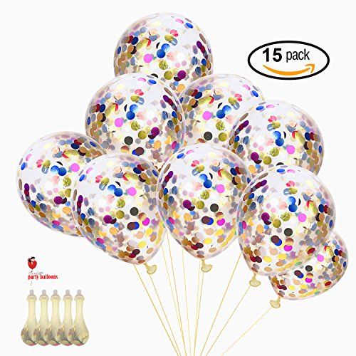 Confetti Balloons Birthday Party - 15 Pack 15 '' ( Mouth Piece Included ) Round Clear Latex Free Balloon, Glitter Balloons for the Gift, Wedding, Party Decorations (Balloons From Party City)