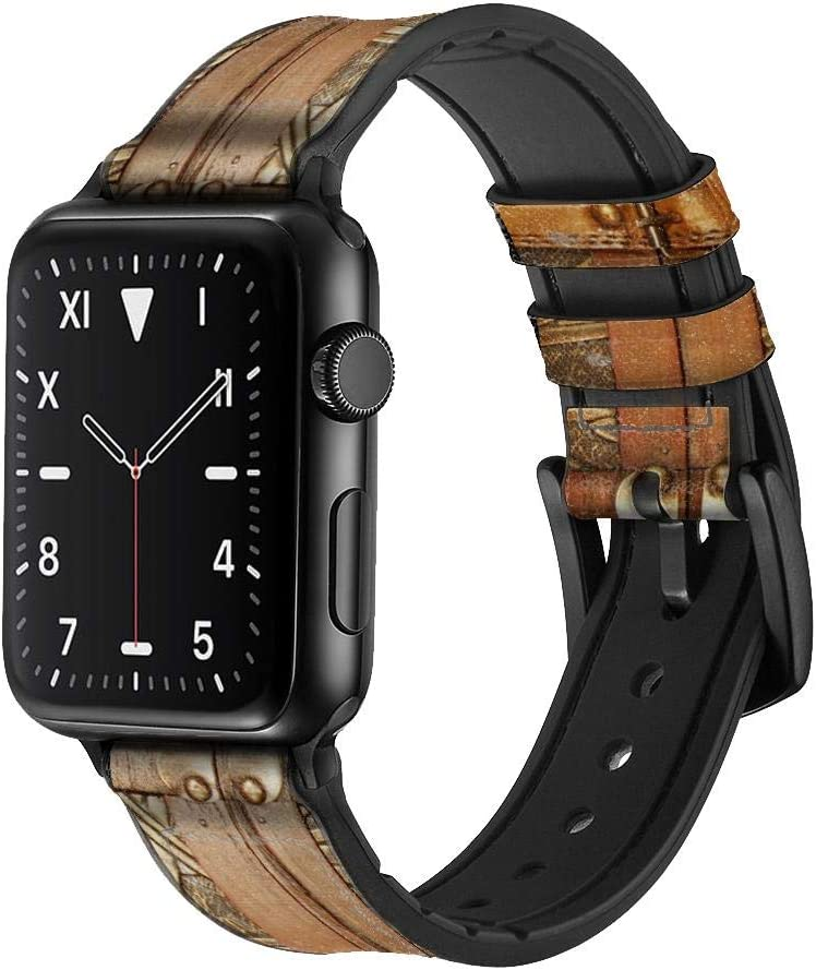 CA0535 Treasure Chest Leather & Silicone Smart Watch Band Strap for Apple Watch iWatch Size 42mm/44mm