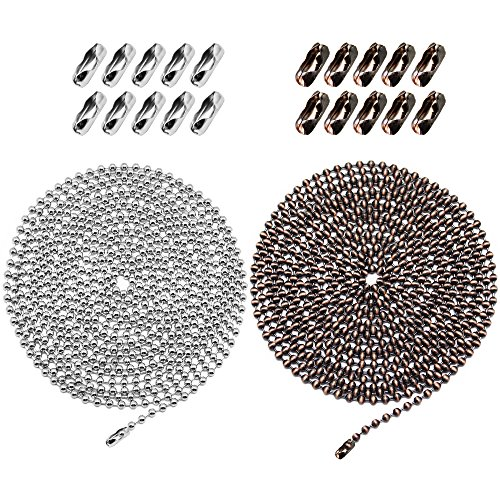 Homgaty 2 Pack 3.2 mm Diameter Adjustable Bead Pull Chain Extension, 10 Feet Ball Chain Necklace for Ceiling Fan and Light with 20 Connectors (10' Zipper)
