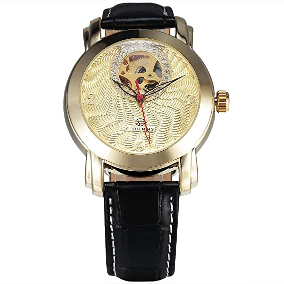 Forsining lujo reloj automático diamante Dial cuero banda cuadro vestido de los hombres oro mecánico reloj de pulsera: Amazon.es: Relojes