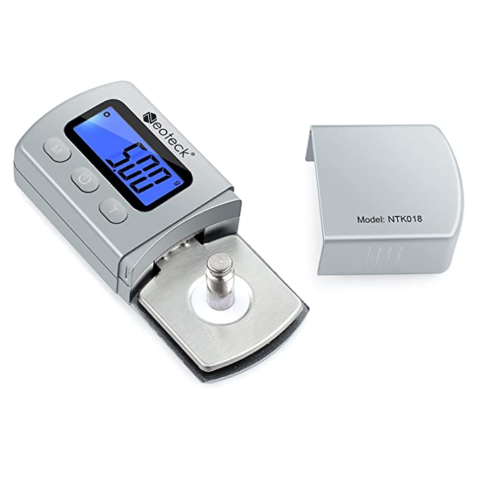 Neoteck Probador Escala Stylus Fuerza de la Placa Giratoria Escalas 0,01 g Retroiluminación Azul para LCD Brazo de la Placa Giratoria Fono Caja de ...