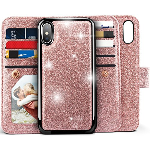 iPhone X Wallet Case, iPhone XS Case, Miss Arts Detachable Magnetic Slim Case with Car Mount Holder, 9 Card/Cash Slots, Magnet Clip, Wrist Strap, PU Leather Cover for Apple iPhone X/XS -Rose Gold