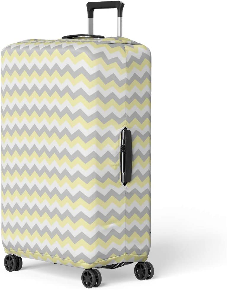 Pinbeam Luggage Cover Classic Chevron Zigzag Stripe Pattern in Gray Yellow Travel Suitcase Cover Protector Baggage Case Fits 18-22 inches