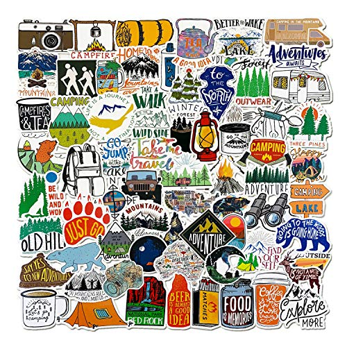 100 Pcs Outdoor Adventure Stickers Wilderness Nature VSCO Waterproof Stickers Decals Hiking Camping Travel Vinyl Water Bottle Stickers for Hydro Flask Laptop Luggage for Teens Girls Men