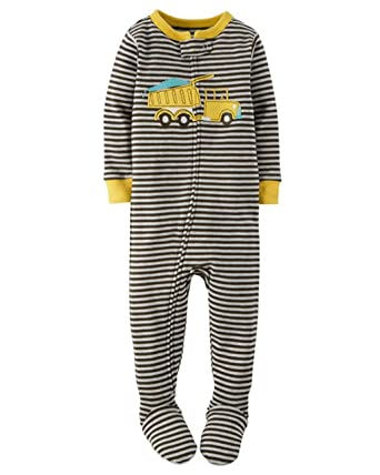d4f24cd8f504 Amazon.com  Carter s Boy s Size 4T Striped DUMP TRUCK Cotton Footed ...