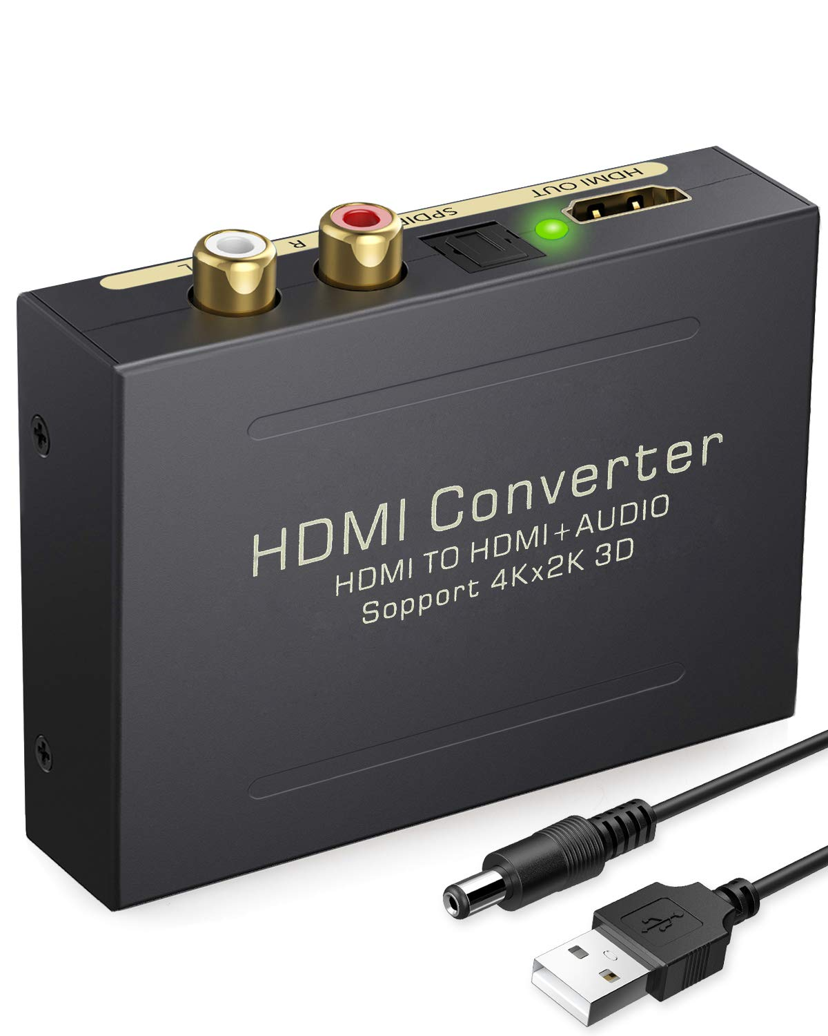 eSynic 4K HDMI Audio Extractor HDMI to HDMI + Optical TOSLINK SPDIF + Analog RCA L/R Stereo Audio Video Spiltter Adapter Converter Support 4K@30Hz 1080P Full HD 3D for Blu-ray Player Xbox PS3 PS4