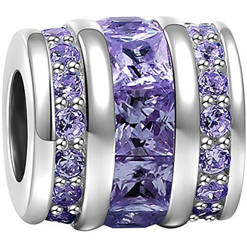SOUFEEL June Birthstone Charms 925 Sterling Silver Light Purple Crystal Bucket Charm Bead Fit European Bracelets