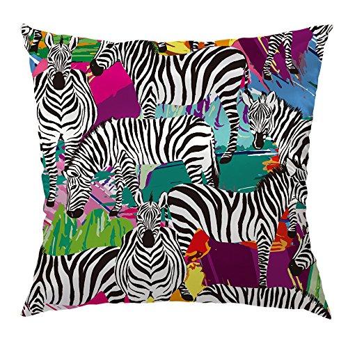 (Moslion Zebra Pillow Home Decorative Throw Pillow Cover Case Zebra Animal Satin Square Cushion Cover Silk Pillow Cases for Men Women Girls Boys Sofa Bedroom Livingroom 18