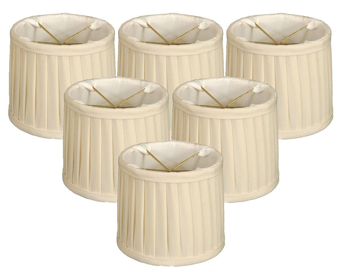 Royal Designs Side Pleat Chandelier Shade, Size 6, Eggshell, Set of 6, (CS-212EG-6)