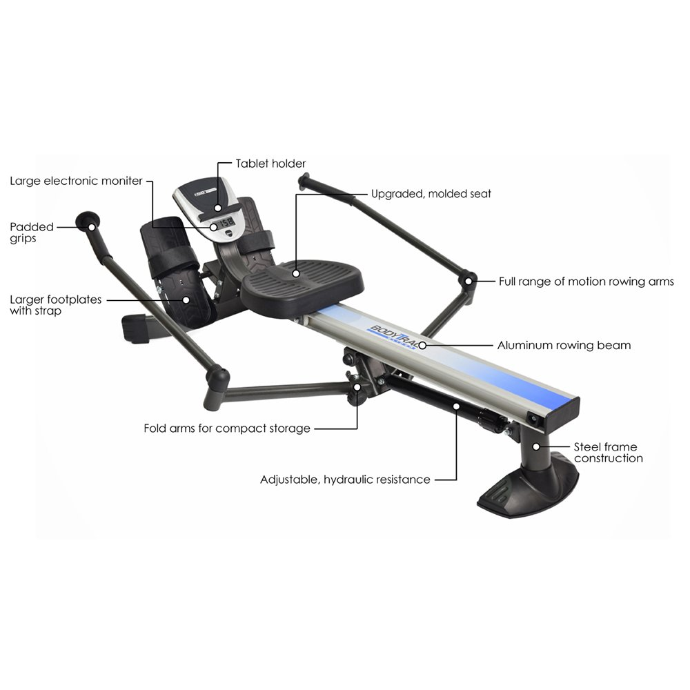 Stamina Products BodyTrac Glider 1060 Hydraulic Resistance Fitness Rower Machine, Blue by Stamina (Image #2)