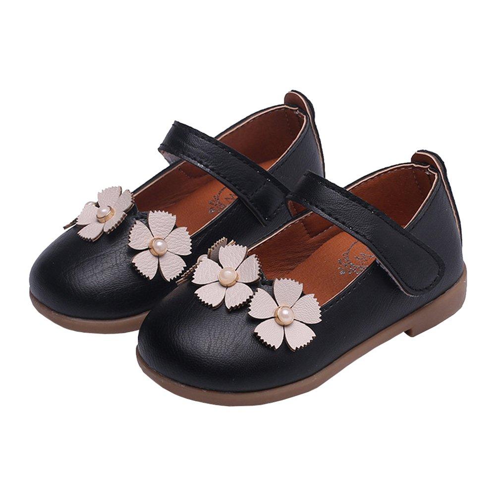 Toddler Girls Flowers Princess Dress Shoes Ballerina Dance Mary Jane Flat Black Size 23