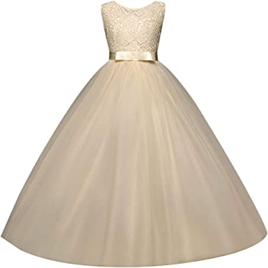 Stylish Girls Kids White Flower Princess Formal Party Wedding Bridesmaid Dresses