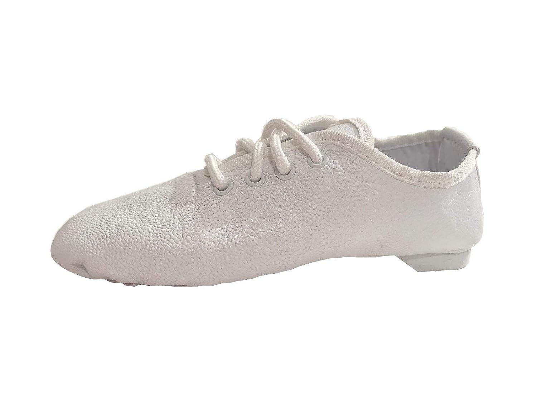 White Leather Jazz Modern Dance Shoes Split Sole