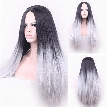 65cm peluca de señora larga recta Color degradado gris negro síntesis de alambre de alta temperatura