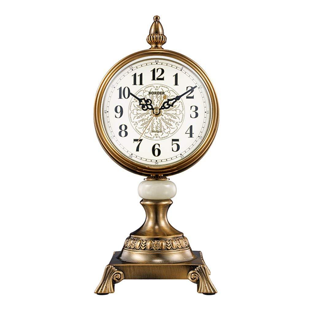 デスククロックファミリークロックヨーロッパのレトロな置時計リビングルーム/オフィス/寝室用サイレントノンティックメテルリビングルームの寝室用オフィス B07THHCP7Q