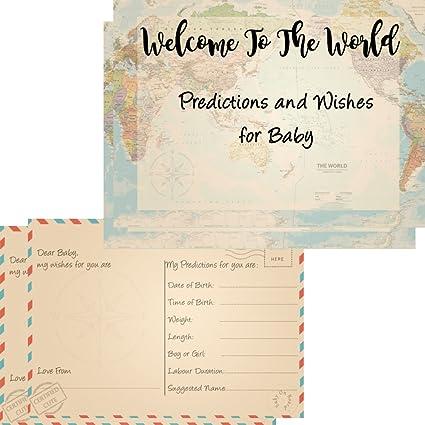 16 bebé Predicciones y deseos tarjetas para Baby Shower ...