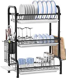 Dish Drying Rack, Ace Teah 3 Tier Dish Drainer, Stainless Steel Dish Rack with Drain Boards and Utensil Holder for Kitchen Counter, Black