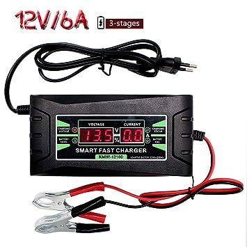 Etrogo Cargador de Batería,6A 12V Mantenimiento Automático e Inteligente Pantalla Led Digital con Múltiples Protecciones para Batería de Plomo de ...
