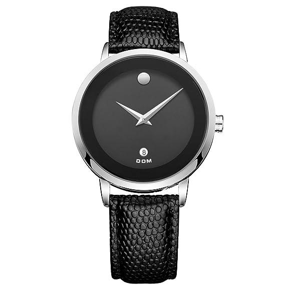 Dom reloj de piel estilo de cuarzo para hombre relojes primera marca de lujo resistente al
