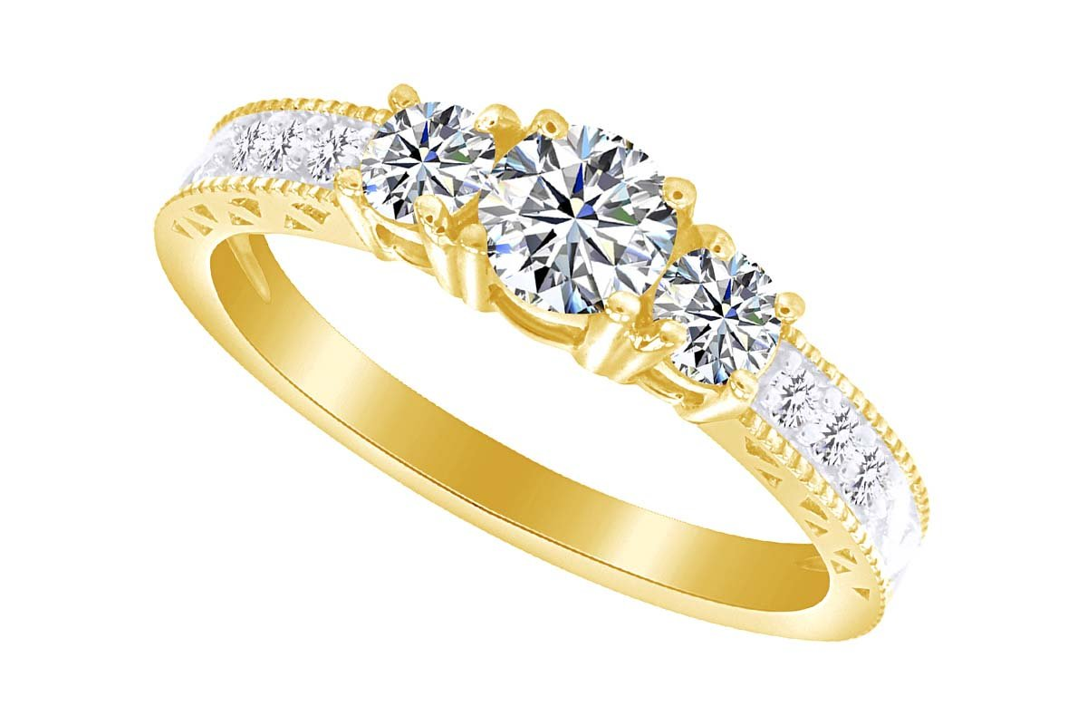 Jewel Zone US White Cubic Zirconia Vintage Style Three Stone Anniversary Ring In 14k Yellow Gold Over Sterling Silver