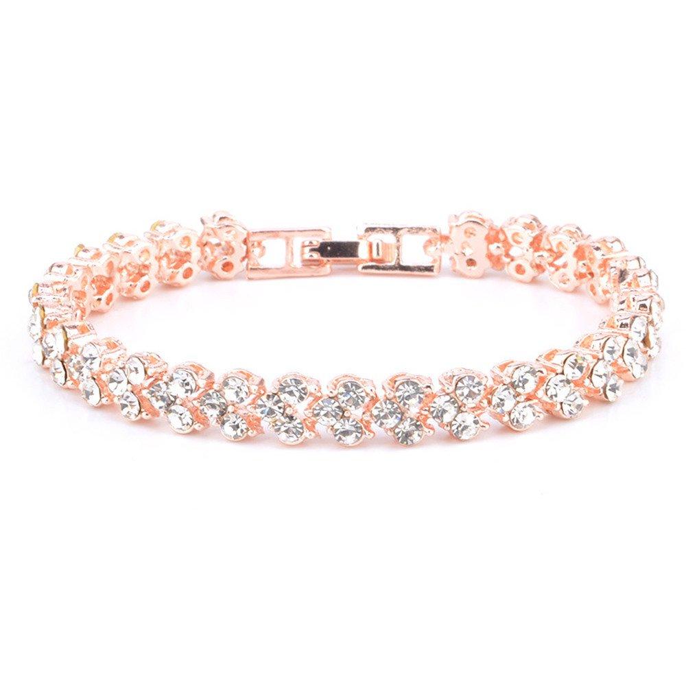 NIHAI Jewelry Necklace, Women Bangle Bracelet Crystal Diamond Simple Bracelet Party Gifts Bracelets (Rose Gold)