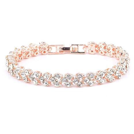FiedFikt - Pulsera de joyería de Estilo Romano, con Diamantes de ...