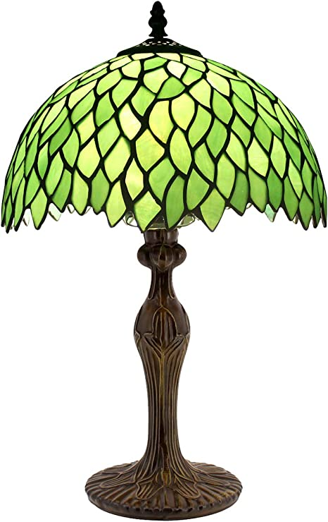 Amazon Com Tiffany Style Table Lamp Reading Light Green Wisteria Stained Glass Shade W12h18 Inch Tall S523 Werfactory Lamps Lover Parent Kid Living Room Office Bedroom Bedside Desk Antique Zinc Base Crafts Gifts