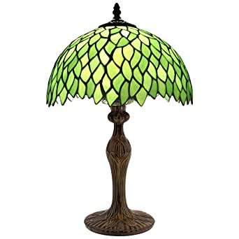 Tiffany Style Table Lamp Light Green Wisteria Stained Glass