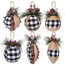 Christmas Farmhouse Home Decor 6 pcs Christmas Ball Ornaments Black and White Buffalo Check and Burlap Baubles Ornaments Hanging Tree Ornaments for…