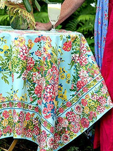 April Cornell Zinnia Floral Tablecloths Assorted Sizes 100% Cotton Aqua (54 x 54 Square) -