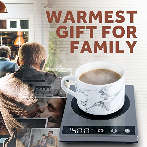 COSORI Premium 24Watt Stainless Steel Mug, Best Gift Idea, Office/Home Use Electric Cup Beverage Warmer Plate Coffee Accessories with LED Backlit Display for Tea,Water,Cocoa,Milk by COSORI (Image #1)