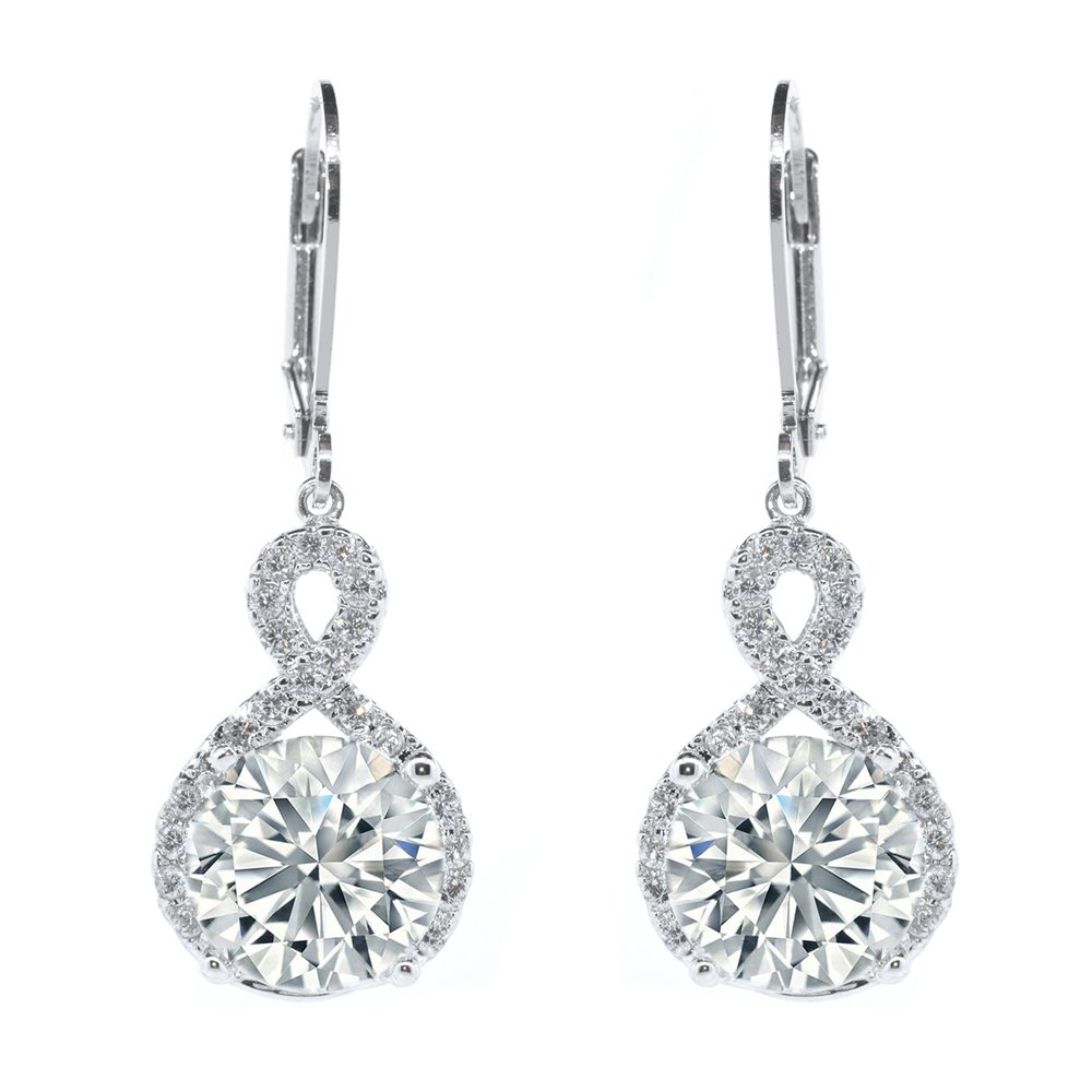 a22b2e5fa Cate & Chloe Alessandra 18k White Gold Plated Infinity Halo Drop Earrings, Silver  CZ Crystal Dangle Earrings Round Diamond Cubic Zirconia Earring Set ...