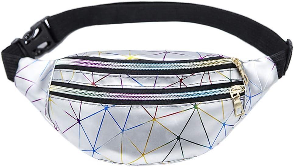 LOHONER Holographic Waist Bags Women Fanny Pack Female Belt Bag Geometric Packs Patchwork Chest Phone Pouch