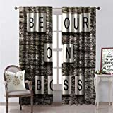 Hengshu Quote Room Darkening Wide Curtains Domino s Be Your Own Boss Message on a Rustic Wooden Backdrop Image Print Waterproof Window Curtain W72 x L108 Multicolor