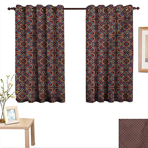 Customized Curtains Kaleidoscope Stained Glass Seemed Image with Colorful Floral Like Detailed Image 55