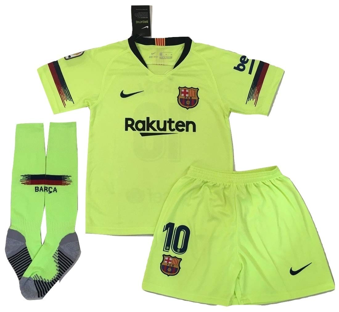 7b13383bc16 Amazon.com : AllStarA 2018-2019 Messi #10 New FC Barcelona Away Jersey  Shorts & Socks for Kids/Youth : Sports & Outdoors