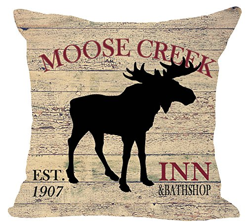 European Retro animal Moose creek inn and bath shop Elk ridge Lodge Cotton Linen Square Throw Waist Pillow Case Decorative Cushion Cover Pillowcase Sofa 18