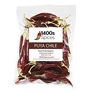 4oz Puya Dried Whole Chile Peppers, Natural Dehydrated Chili Pods for Authentic Mexican Food, Heat-Sealed Resealable Bag