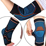 MENG ZHI AO 3 Pairs Knee Elbow Ankle Support Cap Pad for Joint Pain Arthritis Relief Improving Circulation–Effective Support for Running Baseball Outdoor Exercise Football for Women and Men