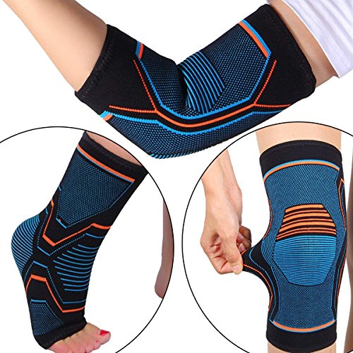 MENG ZHI AO 3 Pairs Knee Elbow Ankle Support Cap Pad for Joint Pain Arthritis Relief Improving Circulation–Effective Support for Running Baseball Outdoor Exercise Football for Women and Men by MENG ZHI AO