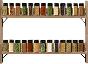 """MOCOME 2 Tier Spice Rack Shelf 32"""" Long Narrow Wooden Floating Shelves Rustic Solid Wood with Metal Bracket Wall Organizer for Kitchen Bathroom(Natural Brown)"""