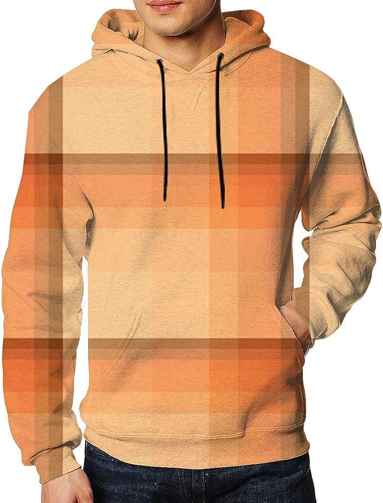 Men Sweatshirt Light Dark Orange Colors 3D Digital Printing Funny Hoodie Pullover with Pockets