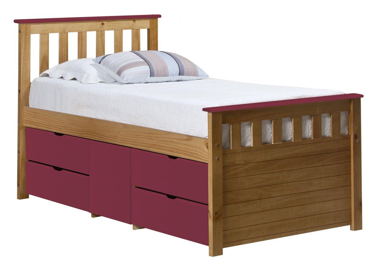 Design Vicenza Captains Ferrara Aufbewahrung Bett lang 3Ft Antik mit Fuchsia Details