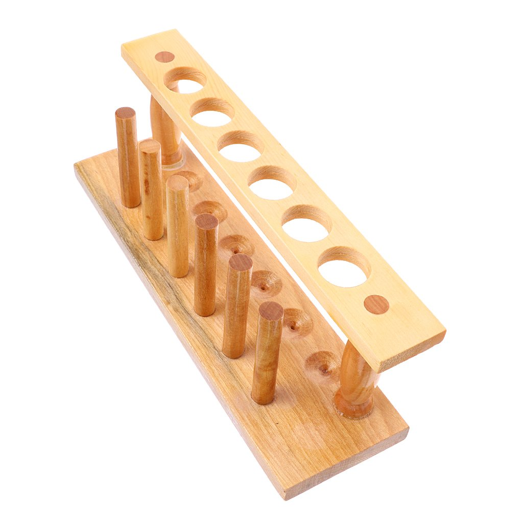 gazechimp Wooden Test Tube Rack 6 Hole And Pins-Solid Wood Tube Shelf Stand Lab Tool