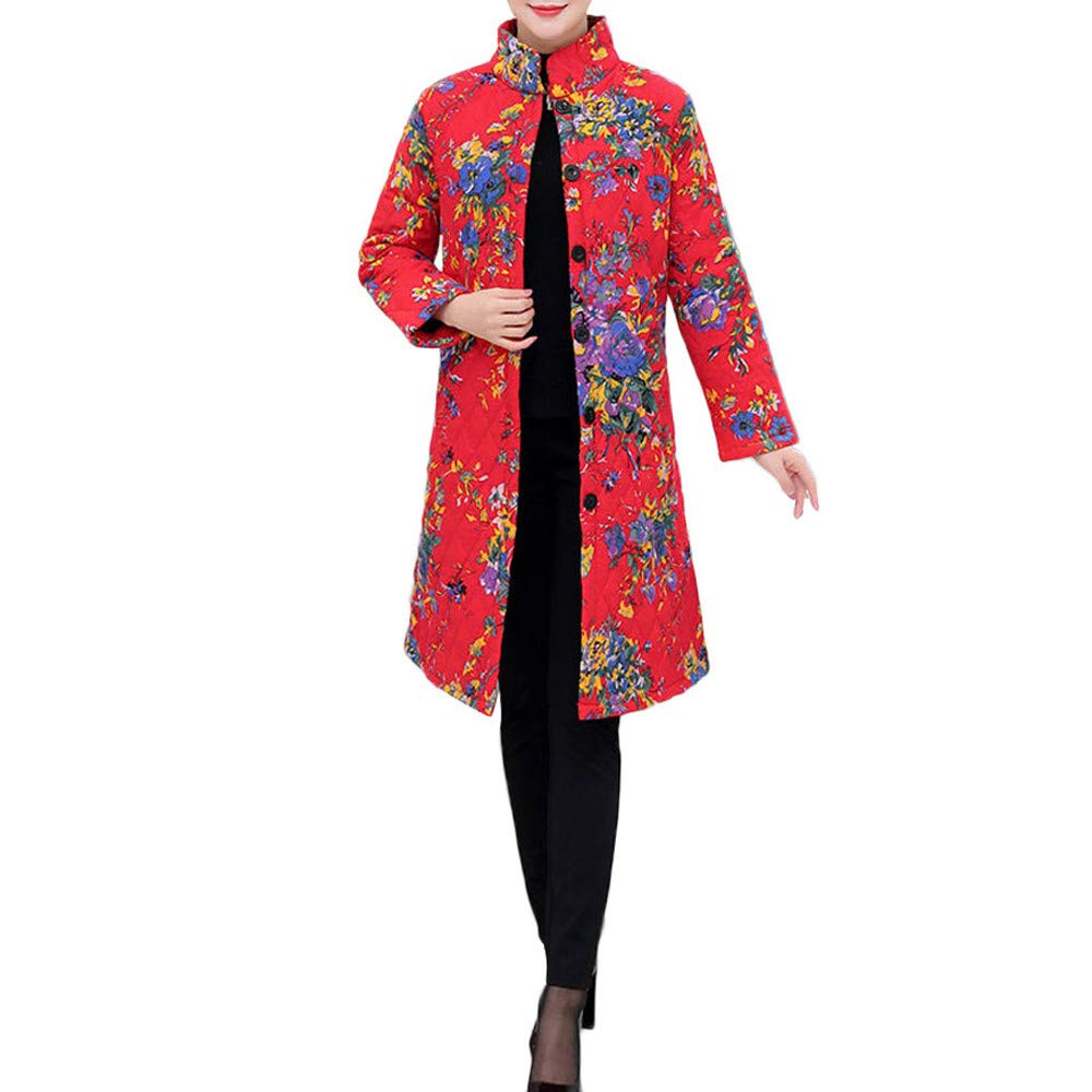Winter Sale-Womens Vintage Ethnic Wind Print Cotton Linen Warm Long Jacket Overcoat at Amazon Womens Clothing store: