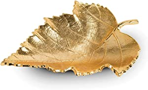 Ardour Gold Decorative Leaf Platter Tray Centerpiece Bowl for Table Kitchen Display Home Decor - 9 Inches