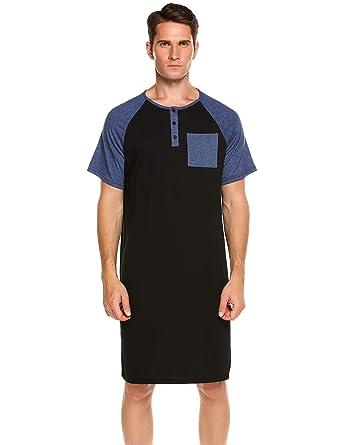Goldenfox Comfy Big Tall Short Sleeve Henley Sleep Shirt Men s Nightshirt  Cotton Nightwear M-XXXL 18dedf3fe
